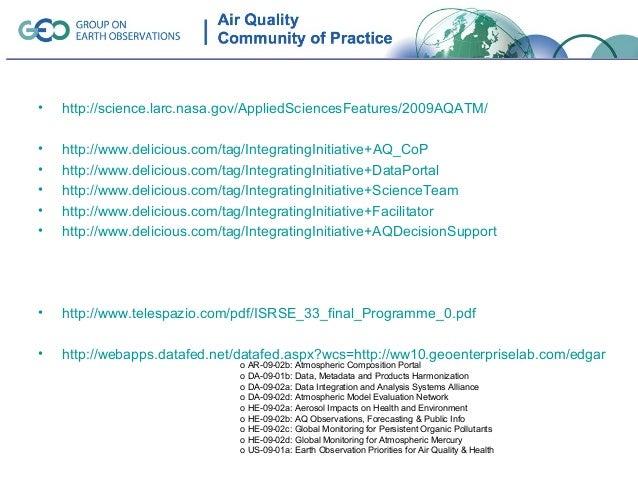 •   http://science.larc.nasa.gov/AppliedSciencesFeatures/2009AQATM/•   http://www.delicious.com/tag/IntegratingInitiative+...