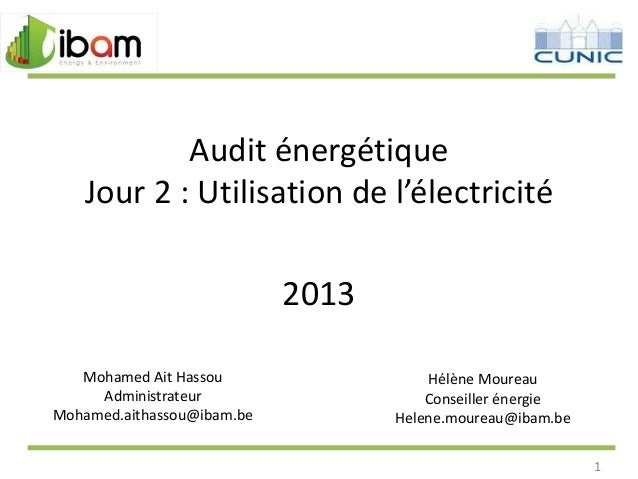 Audit énergétique Jour 2 : Utilisation de l'électricité  2013 Mohamed Ait Hassou Administrateur Mohamed.aithassou@ibam.be ...