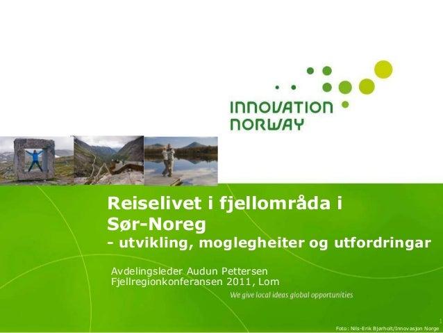 Reiselivet i fjellområda i Sør-Noreg - utvikling, moglegheiter og utfordringar Avdelingsleder Audun Pettersen Fjellregionk...