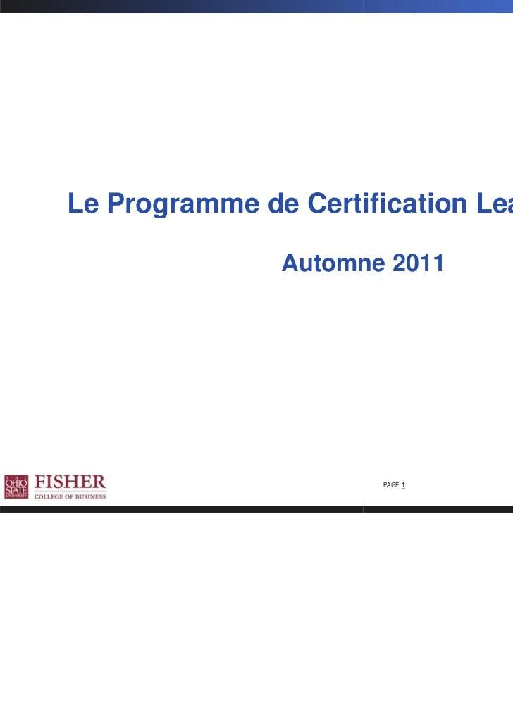 Le Programme de Certification Lean Manager               Automne 2011                      PAGE 1