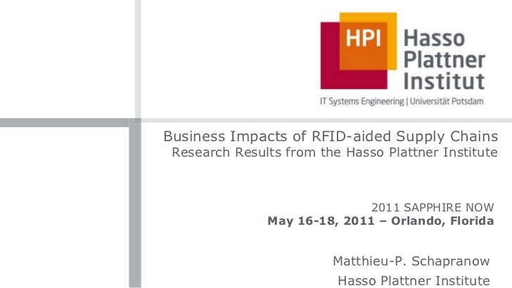 Business Impacts of RFID-aided Supply Chains Research Results from the Hasso Plattner Institute<br />2011 SAPPHIRE NOW<br ...