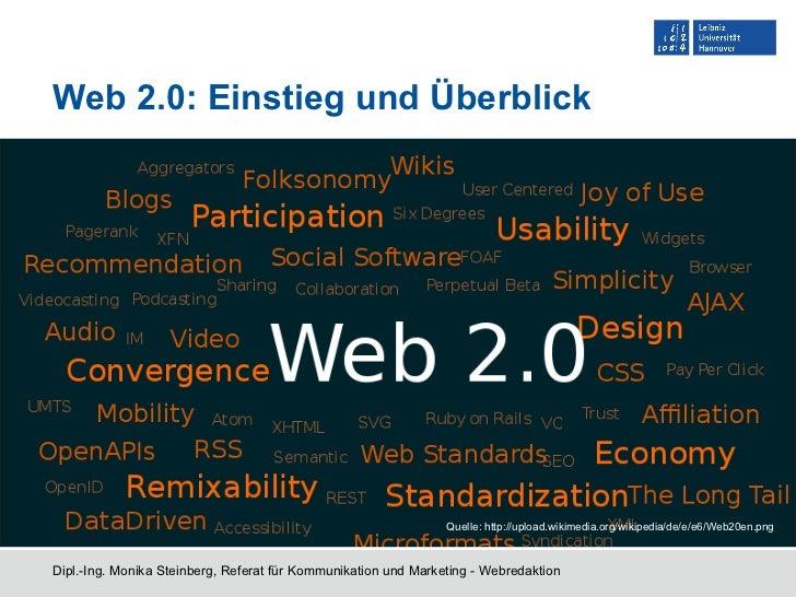 Web 2.0: Einstieg und Überblick Dipl.-Ing. Monika Steinberg, Referat für Kommunikation und Marketing - Webredaktion Quelle...