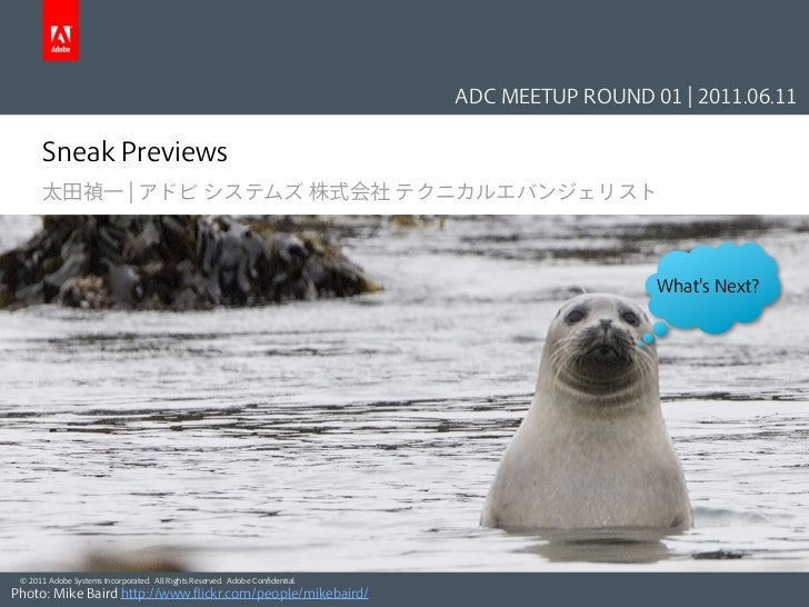 ADC MEETUP ROUND 01 | 2011.06.11      Sneak Previews      太田禎一 | アドビ システムズ 株式会社 テクニカルエバンジェリスト                             ...