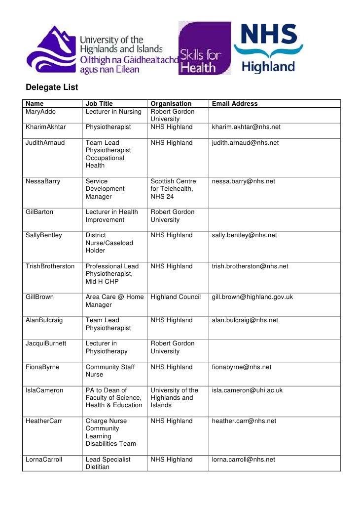 Delegate List<br />NameJob TitleOrganisationEmail AddressMary AddoLecturer in NursingRobert Gordon UniversityKharim Akhtar...