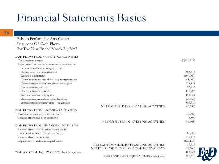 non profit cash flow statement template