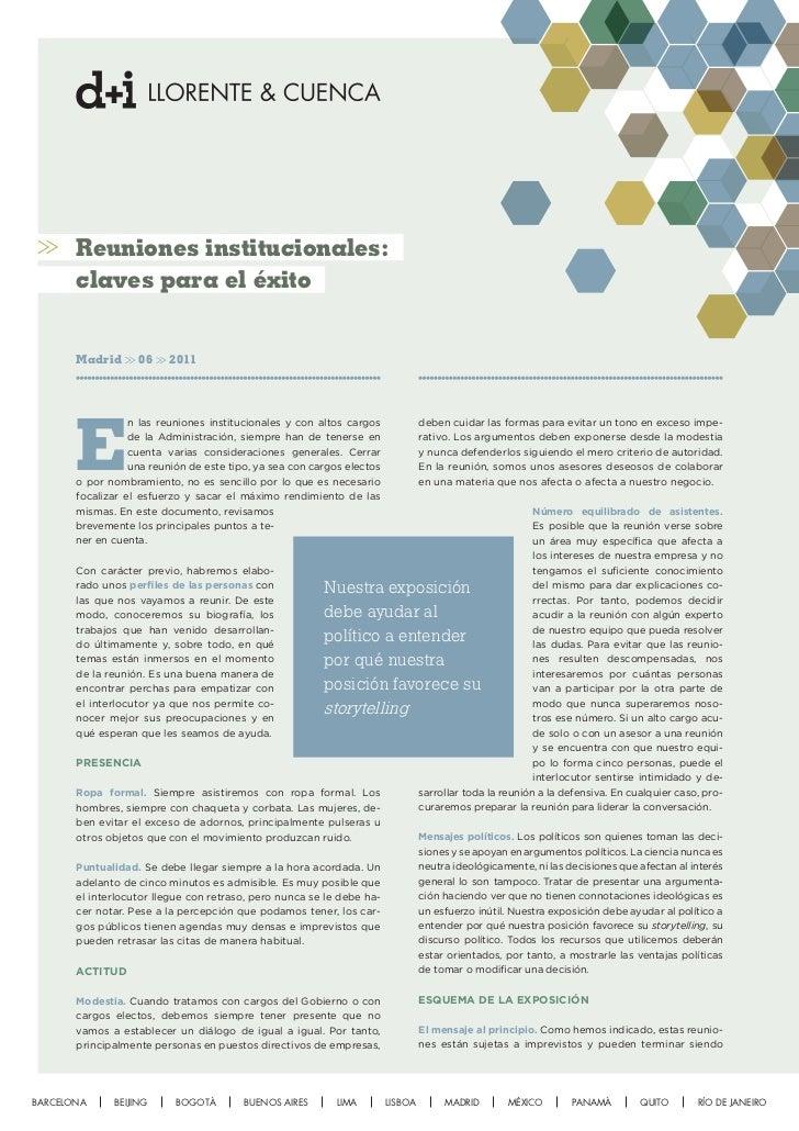 Reuniones institucionales:       claves para el éxito       Madrid      06     2011       E                  n las reunion...