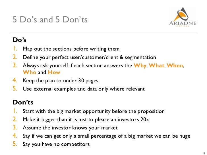 5 Do's and 5 Don'tsDo's1. Map out the sections before writing them2. Define your perfect user/customer/client & segmentati...