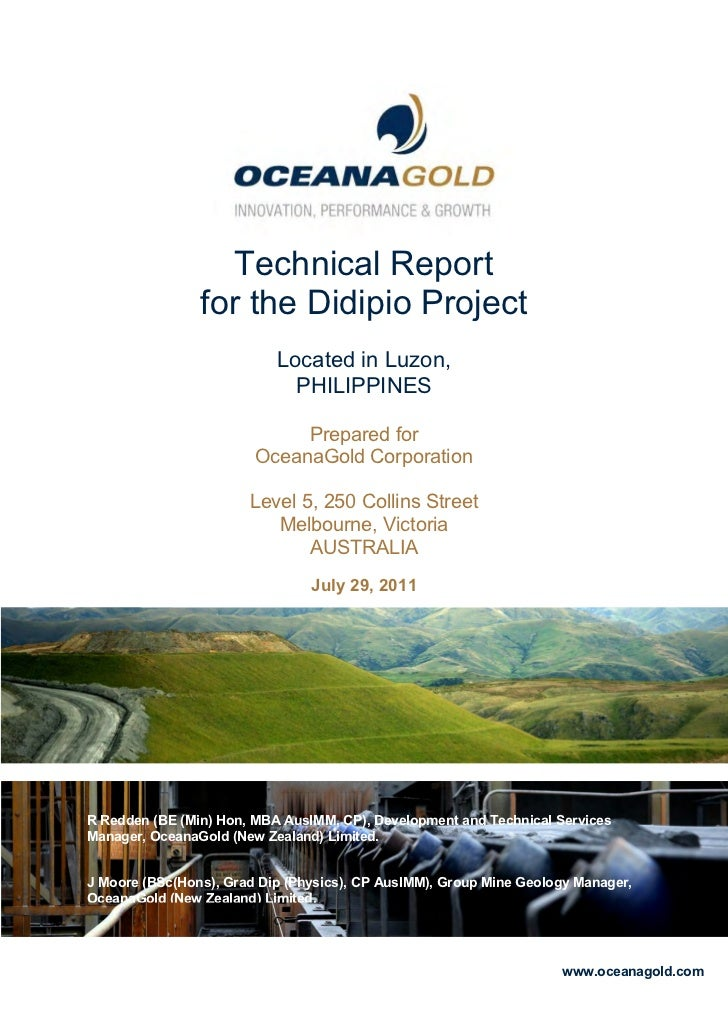 OceanaGold Corporation2011First Quarter Results                              Technical Report                           fo...