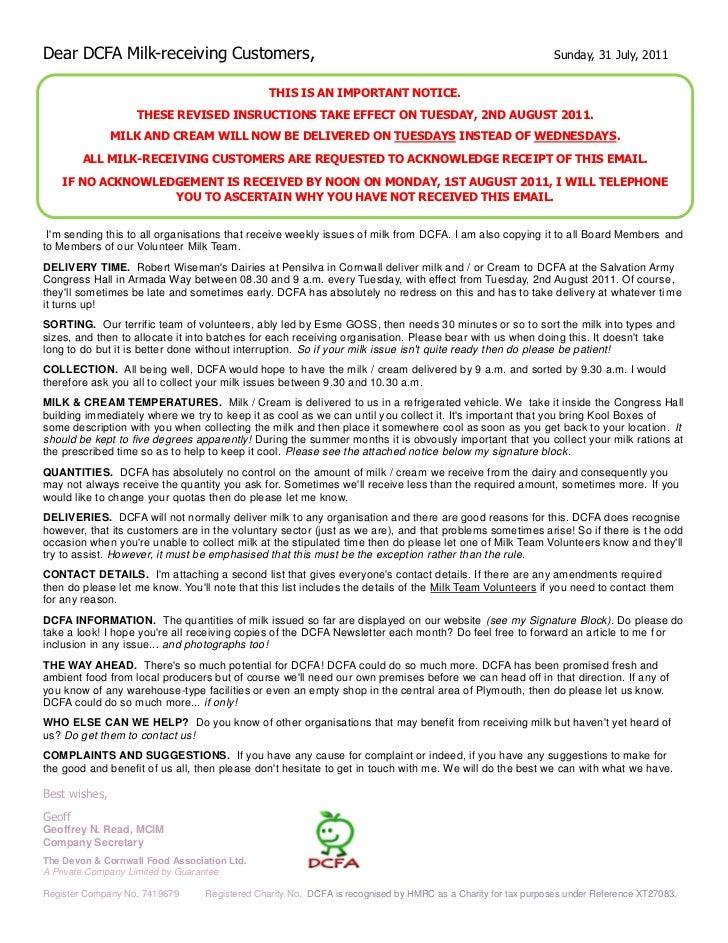 Dear DCFA Milk-receiving Customers,                                                                          Sunday, 31 Ju...