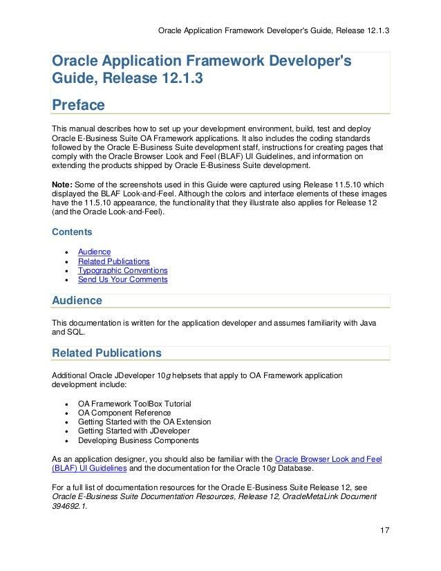oaf developer guide 13 1 3 rh slideshare net Oracle Application Development Framework Best Practices Framework