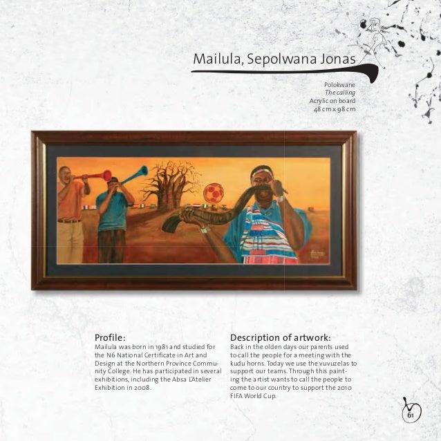 62Makoatsa,Teboho JusticeJohannesurgJo'burg my Jo'burgOil on canvas50,5cm x 101,5cmProfile:Makoatsa was born in 1984 and i...