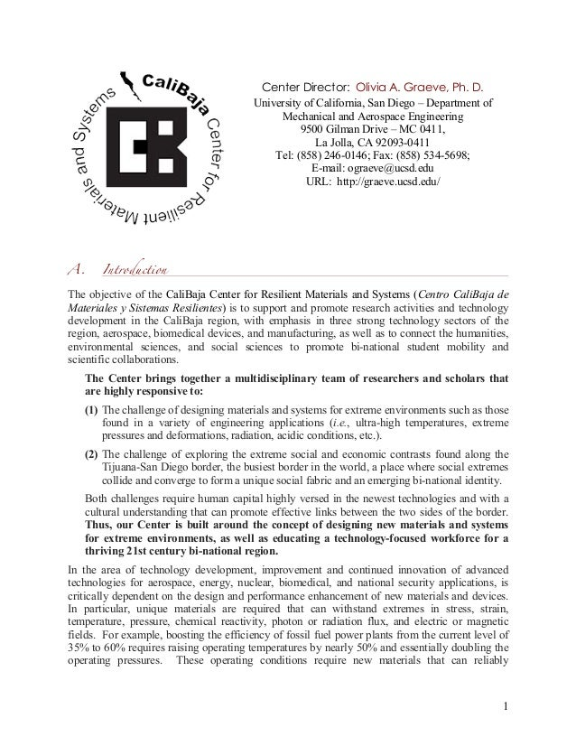 1 A. Introduction The objective of the CaliBaja Center for Resilient Materials and Systems (Centro CaliBaja de Materiales ...