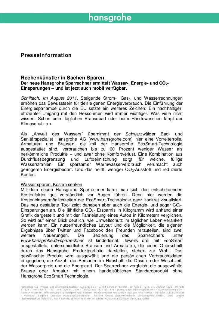 PresseinformationRechenkünstler in Sachen SparenDer neue Hansgrohe Sparrechner ermittelt Wasser-, Energie- und CO2-Einspar...