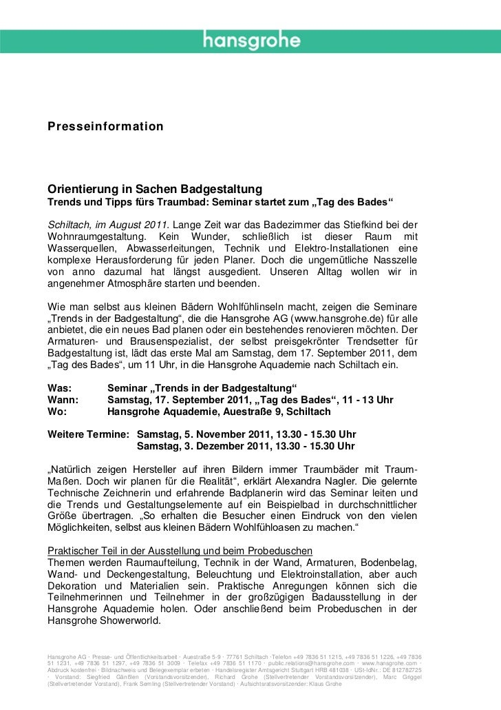 """PresseinformationOrientierung in Sachen BadgestaltungTrends und Tipps fürs Traumbad: Seminar startet zum """"Tag des Bades""""Sc..."""