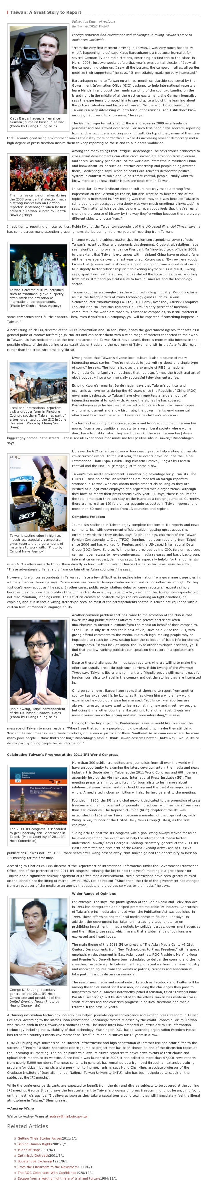 :::  Taiwan: A Great Story to Report                                          Publication Date:08/01/2011                 ...