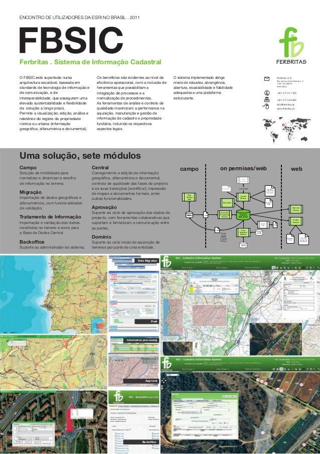 ENCONTRO DE UTILIZADORES DA ESRI NO BRASIL . 2011Ferbritas . Sistema de Informação CadastralO FBSIC está suportado numa   ...