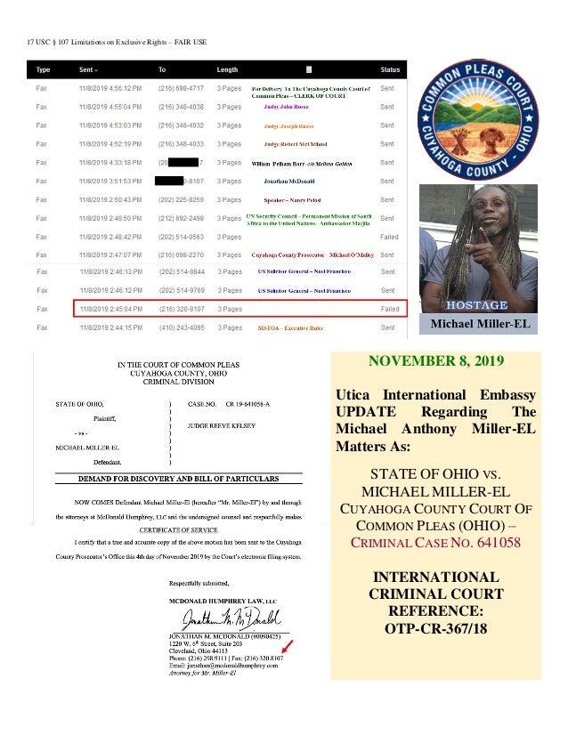 17 USC § 107 Limitations on Exclusive Rights – FAIR USE NOVEMBER 8, 2019 Utica International Embassy UPDATE Regarding The ...