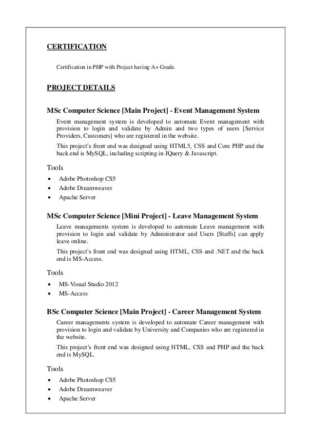 arun u k resume updated feb 2015 - Resume Computer Science 2015