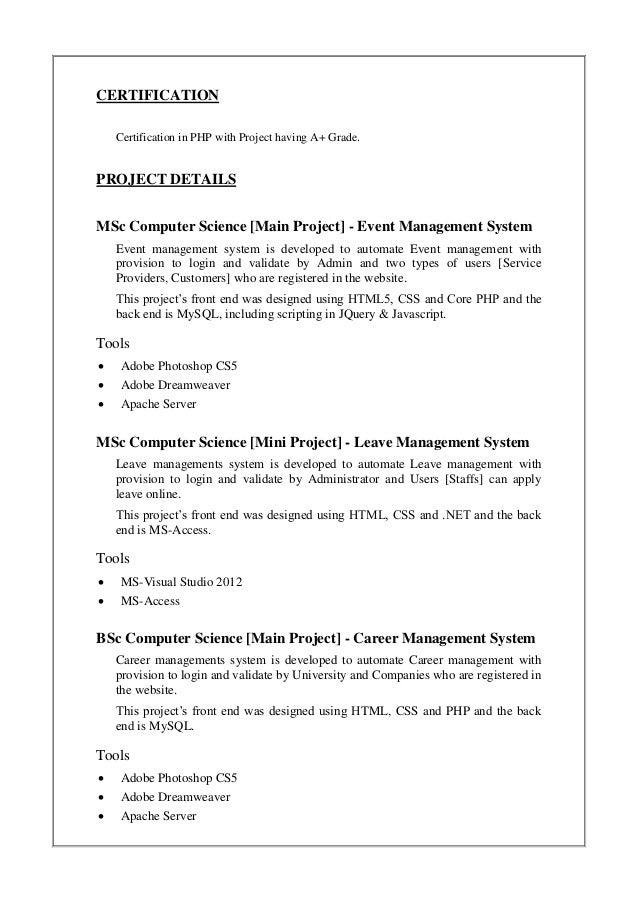arun u k resume updated feb 2015 - Resume Msc Computer Science