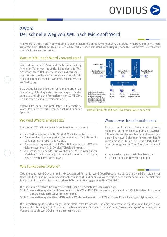 XWord: Der schnelle Weg von XML nach Microsoft Word