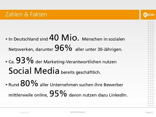  In Deutschland sind 40 Mio. Menschen in sozialen Netzwerken, darunter 96% aller unter 30-Jährigen.  Ca. 93%der Marketin...