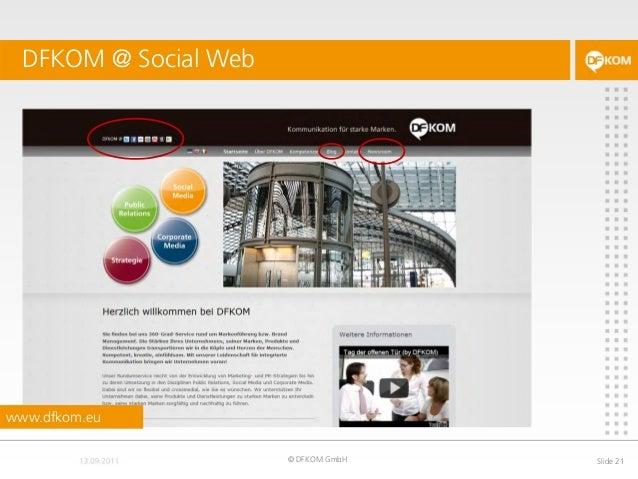 DFKOM @ Social Web © DFKOM GmbH Slide 21 www.dfkom.eu