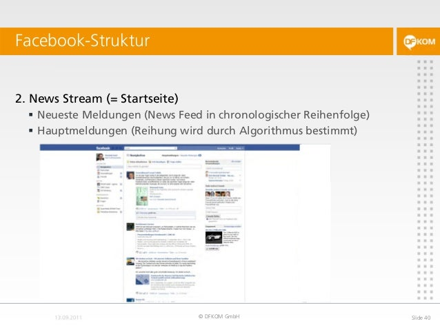 Facebook-Struktur © DFKOM GmbH Slide 40 2. News Stream (= Startseite)  Neueste Meldungen (News Feed in chronologischer Re...