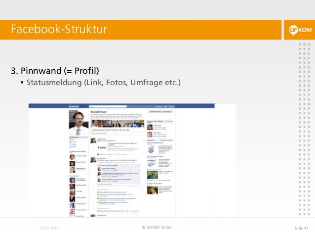 Facebook-Struktur © DFKOM GmbH Slide 41 3. Pinnwand (= Profil)  Statusmeldung (Link, Fotos, Umfrage etc.)