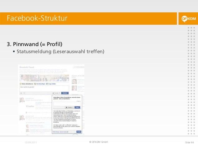 Facebook-Struktur © DFKOM GmbH Slide 44 3. Pinnwand (= Profil)  Statusmeldung (Leserauswahl treffen)