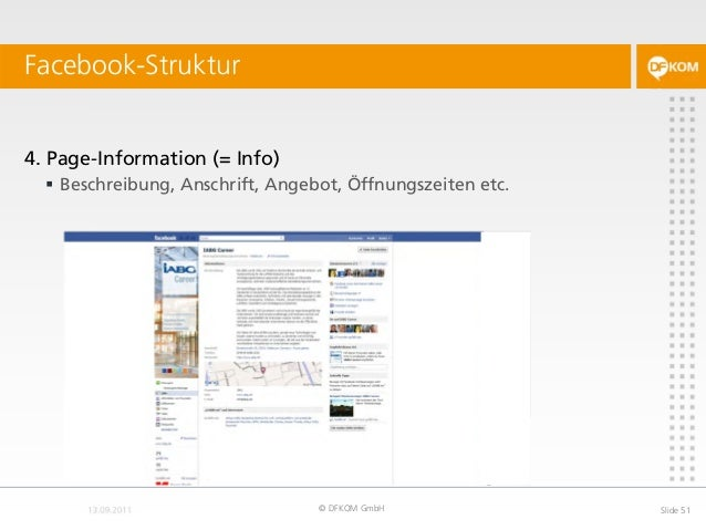 Facebook-Struktur © DFKOM GmbH Slide 51 4. Page-Information (= Info)  Beschreibung, Anschrift, Angebot, Öffnungszeiten et...
