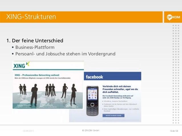 XING-Strukturen © DFKOM GmbH Slide 58 1. Der feine Unterschied  Business-Plattform  Persoanl- und Jobsuche stehen im Vor...