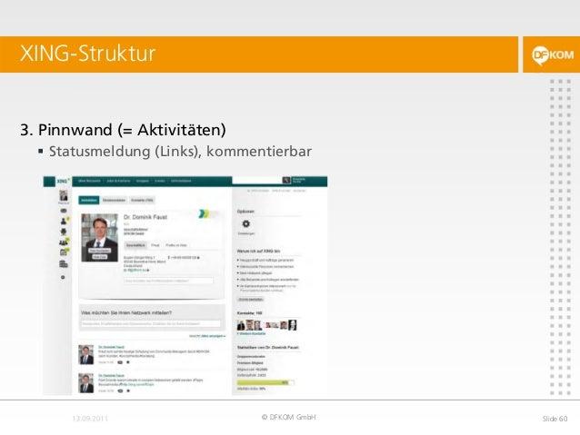 XING-Struktur © DFKOM GmbH Slide 60 3. Pinnwand (= Aktivitäten)  Statusmeldung (Links), kommentierbar
