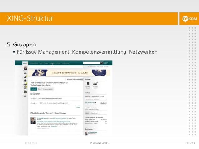 XING-Struktur © DFKOM GmbH Slide 65 5. Gruppen  Für Issue Management, Kompetenzvermittlung, Netzwerken