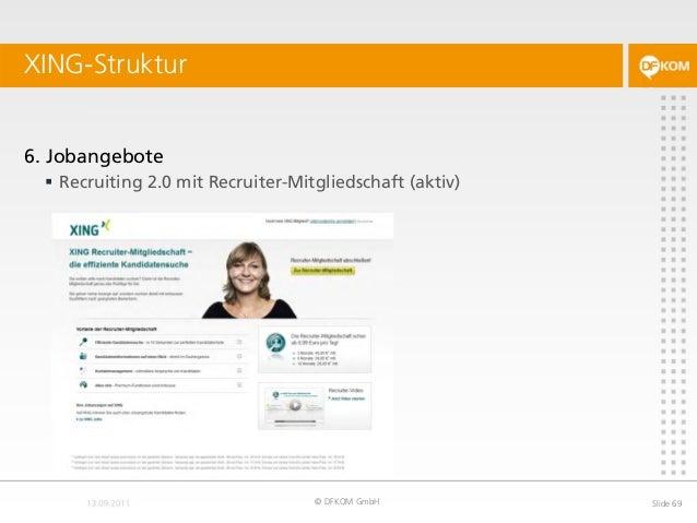 XING-Struktur © DFKOM GmbH Slide 69 6. Jobangebote  Recruiting 2.0 mit Recruiter-Mitgliedschaft (aktiv)