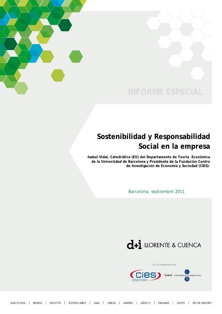 INFORME ESPECIAL     Sostenibilidad y Responsabilidad                 Social en la empresa-Isabel Vidal, Catedrática (EU) ...