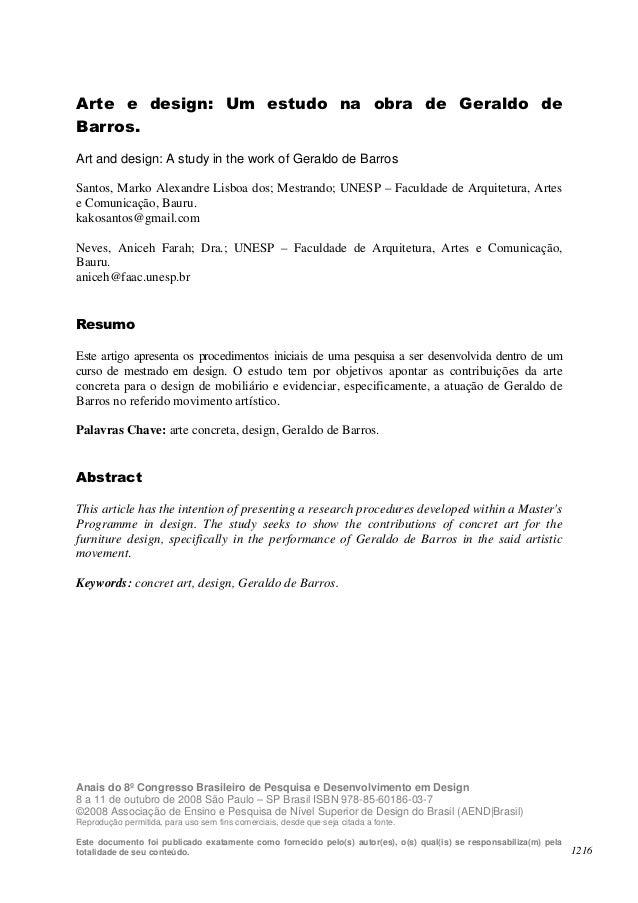 Arte e design: Um estudo na obra de Geraldo deBarros.Art and design: A study in the work of Geraldo de BarrosSantos, Marko...