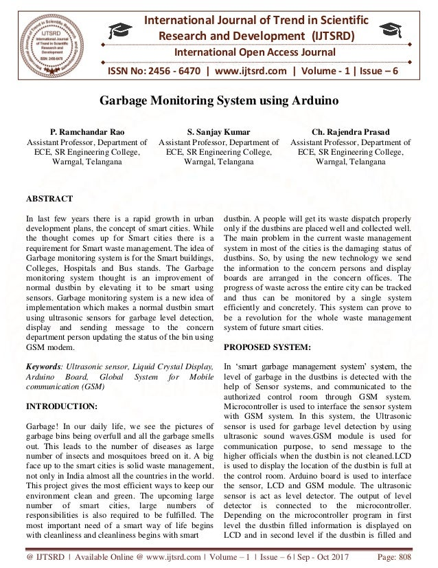 Garbage Monitoring System using Arduino