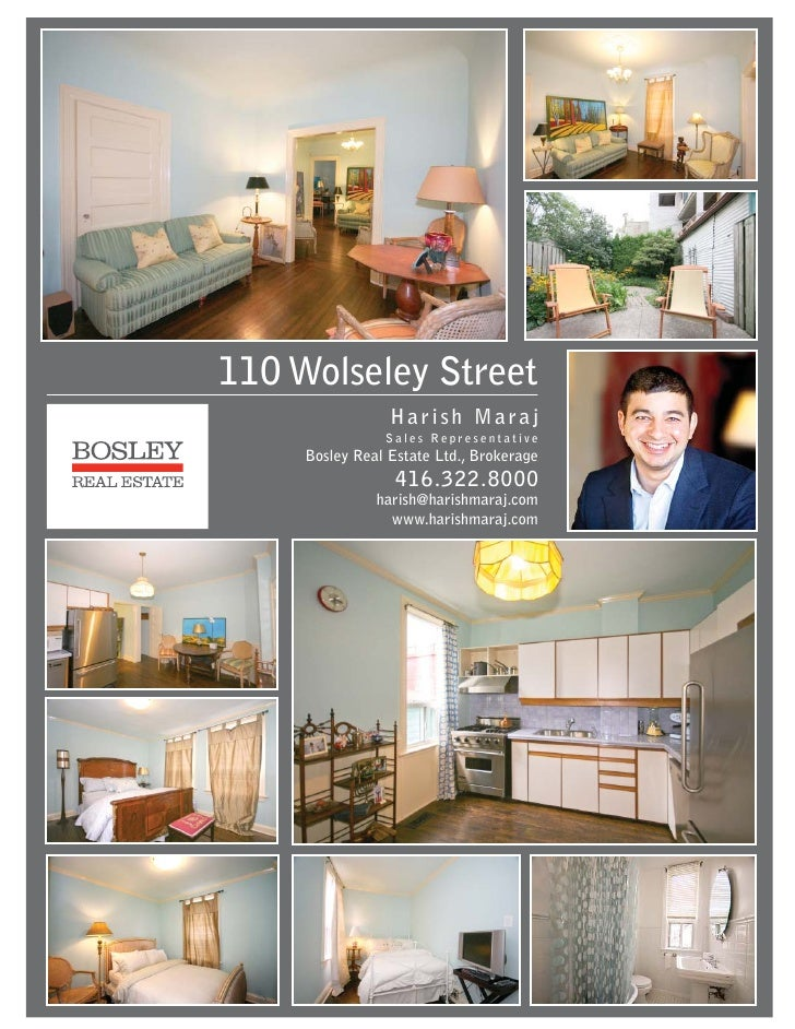 110 Wolseley Street Toronto Feature Sheet Harish Maraj Sales Representative Bosley Real Estate