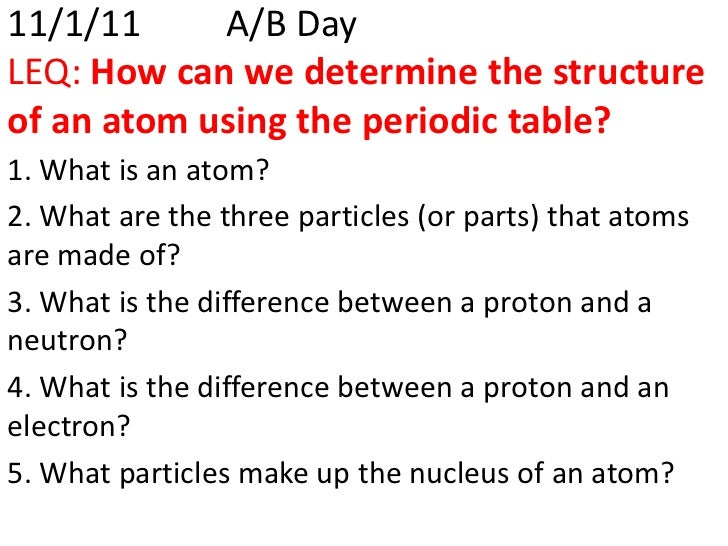 11/1/11     A/B DayLEQ: How can we determine the structureof an atom using the periodic table?1. What is an atom?2. What a...