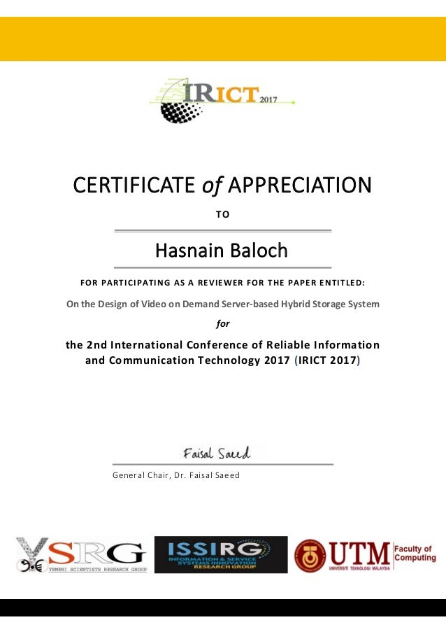 Irict conference certificate of appreciation certificate of appreciation to hasnain baloch for participating as a reviewer for the paper entitled yelopaper Choice Image