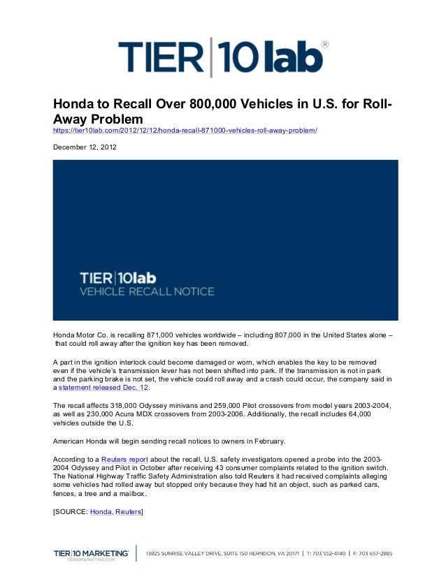 Honda to Recall Over 800,000 Vehicles in U.S. for Roll-Away Problemhttps://tier10lab.com/2012/12/12/honda-recall-871000-ve...