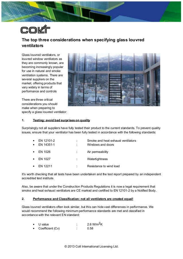 The top three considerations when specifying glass louvred ventilators Glass louvred ventilators, or louvred window ventil...