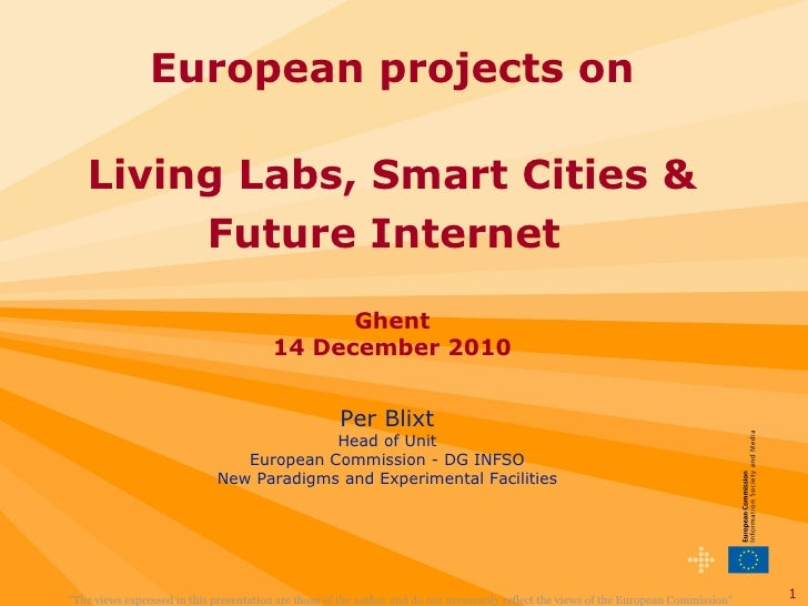 Per Blixt - European projects on Living Labs, Smart Cities & Future Internet