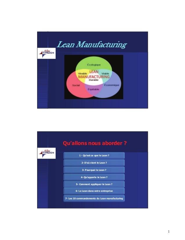 1 LeanLean ManufacturingManufacturing 1 - Qu'est ce que le Lean ? 2- D'où vient le Lean ? 3- Pourquoi le Lean ? 4- Qu'appo...