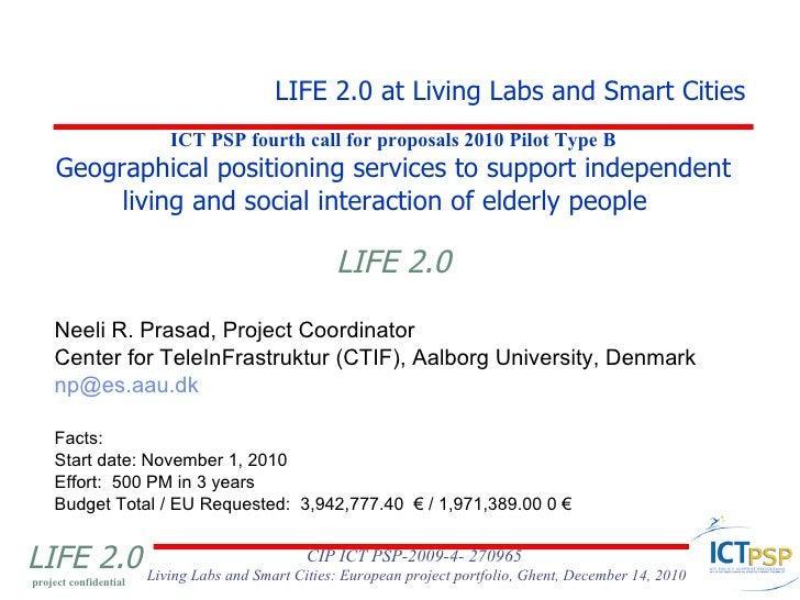 Neeli R. Prasad - LIFE 2.0 at Living Labs and Smart Cities