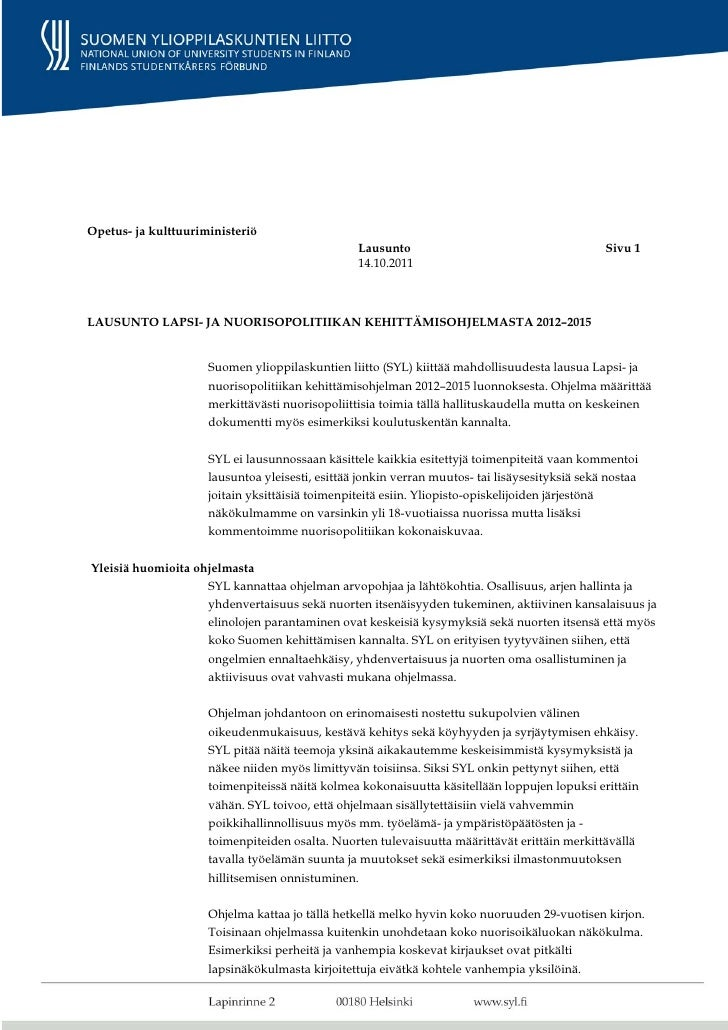 Opetus- ja kulttuuriministeriö                                                 Lausunto                                   ...