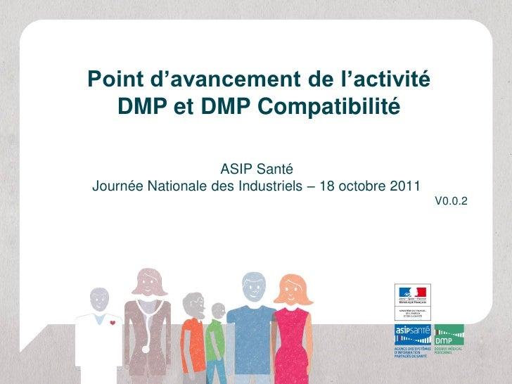 Point d'avancement de l'activité  DMP et DMP Compatibilité                   ASIP SantéJournée Nationale des Industriels –...