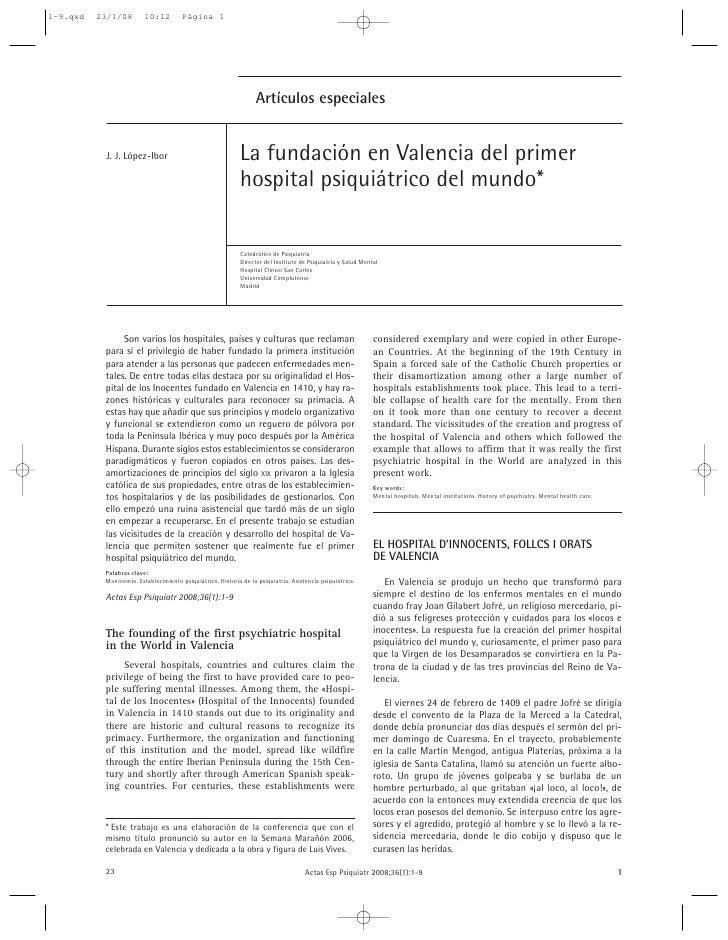 Artículos especiales   J. J. López-Ibor                                  La fundación en Valencia del primer              ...