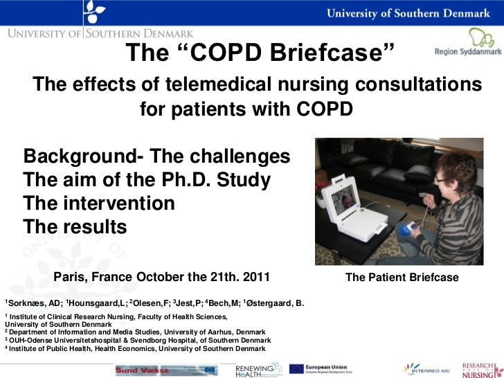 """The """"COPD Briefcase""""       The effects of telemedical nursing consultations                   for patients with COPD     B..."""