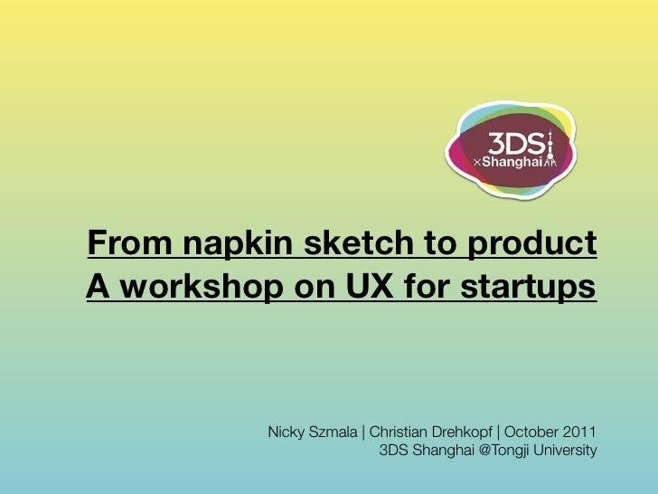 From napkin sketch to productA workshop on UX for startups          Nicky Szmala | Christian Drehkopf | October 2011      ...